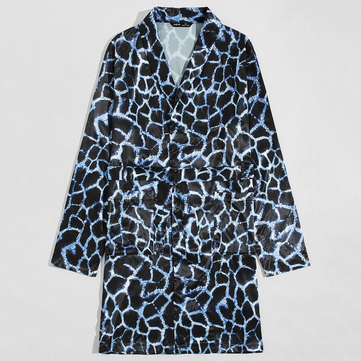 Мужской ночной халат с поясом и леопардовым принтом