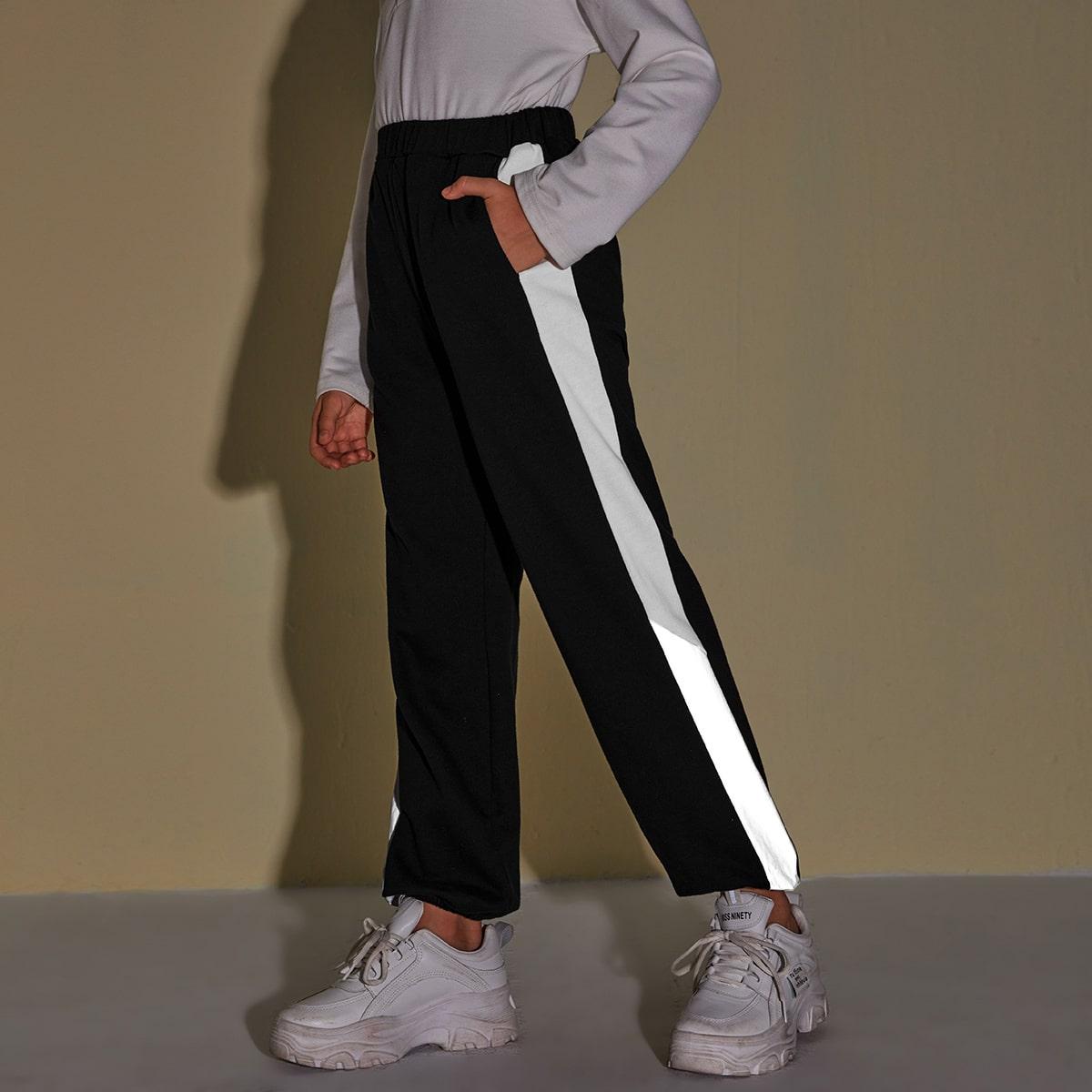Спортивные брюки со светоотражающей отделкой для девочек