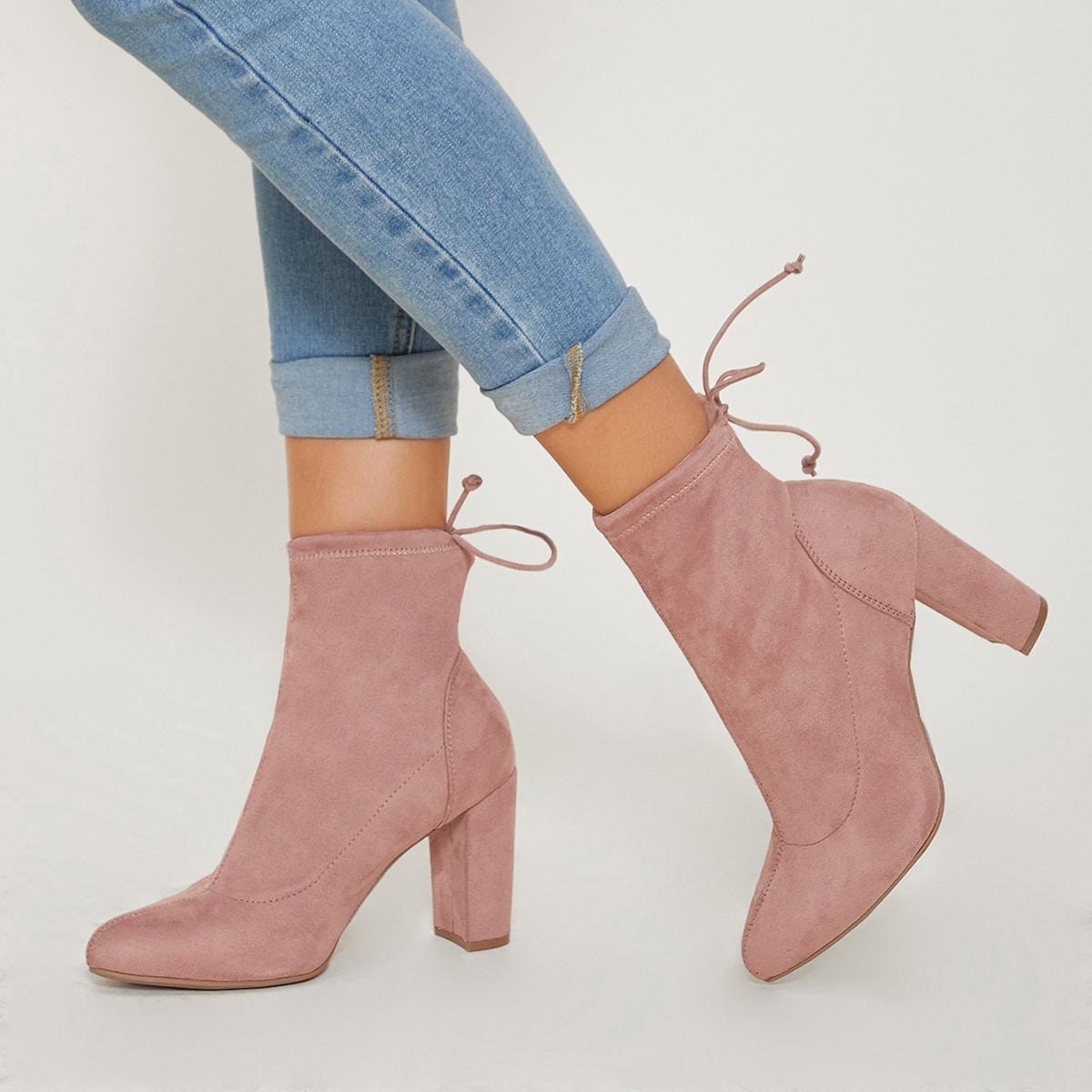 Faux Suede High Heel Sock Boots