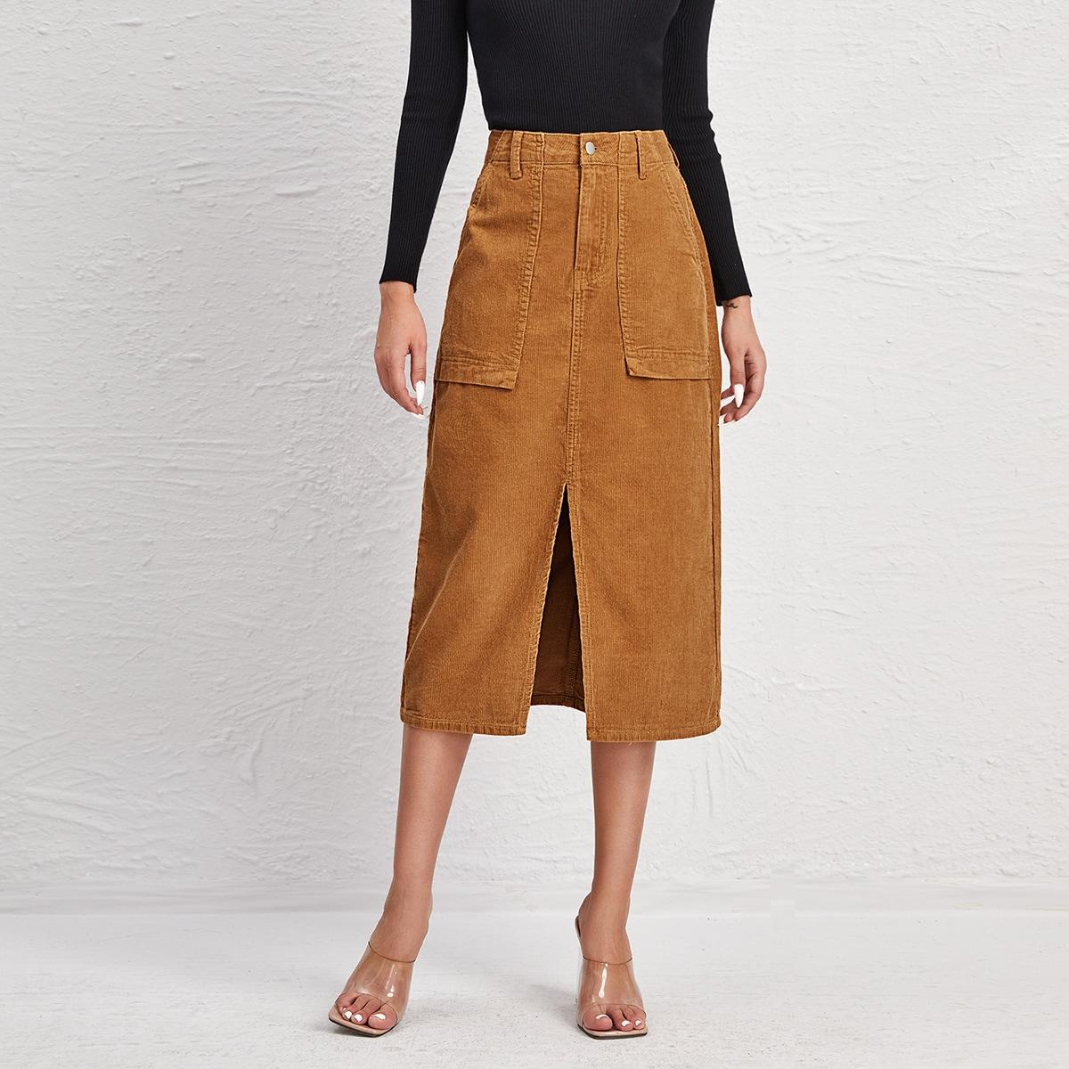 Вельветовая юбка с разрезом и карманом