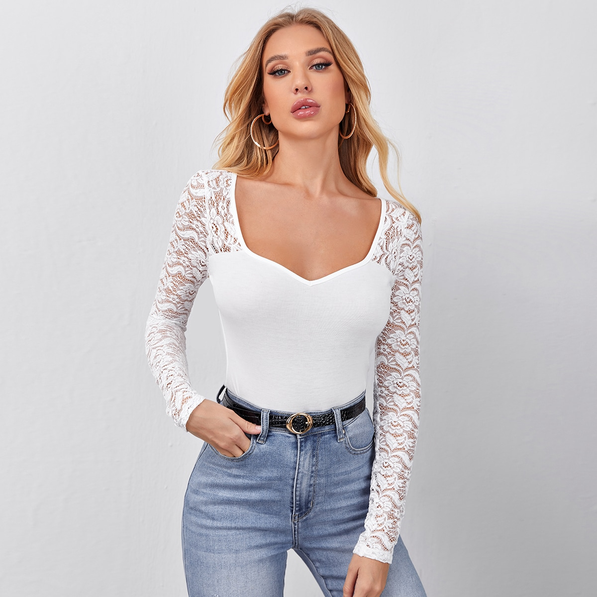 Lace Detail Sweetheart Neck Tee