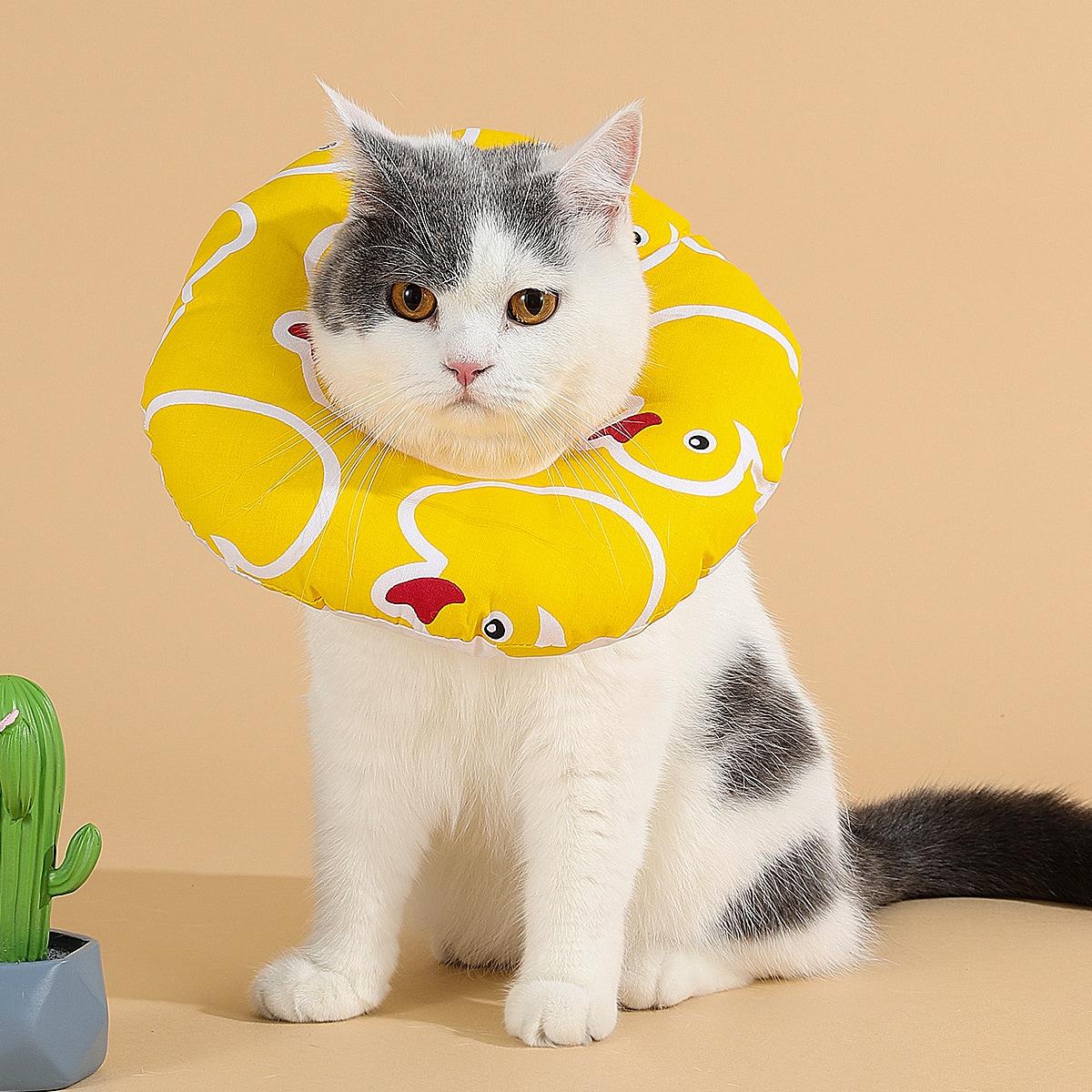 Водостойкий защитный воротник для кошек с принтом