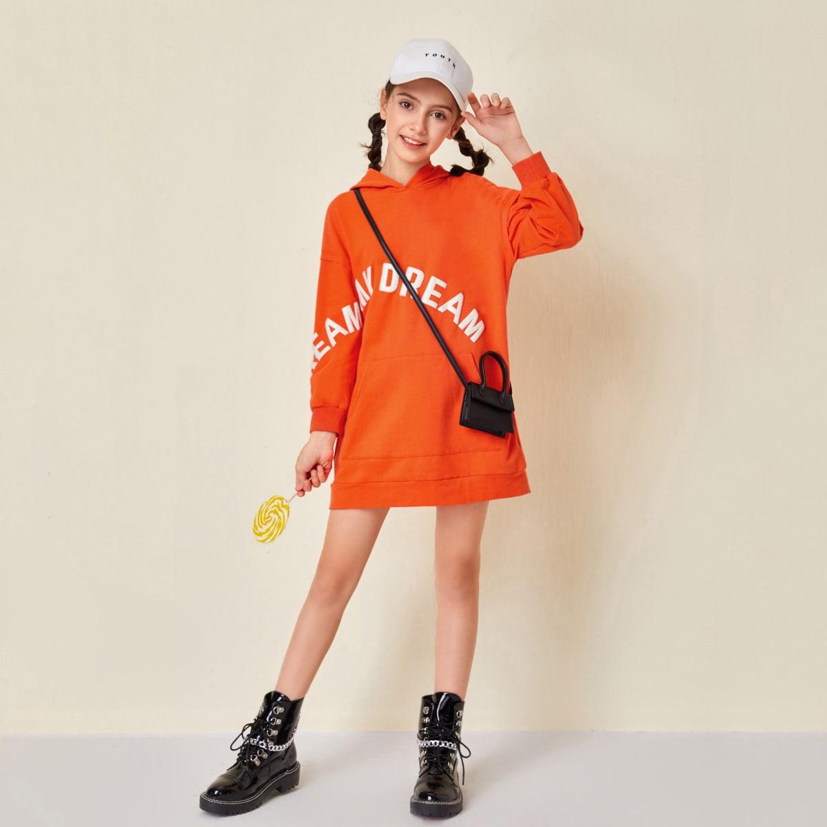 Неоновое оранжевое платье-свитшот с капюшоном и текстовым узором для девочек