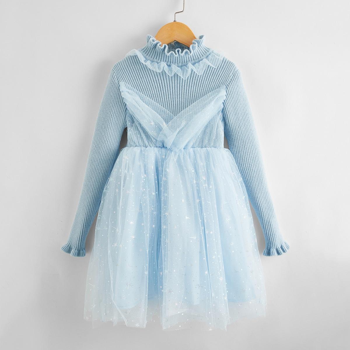 Сетчатое вечернее платье с оборками для девочек