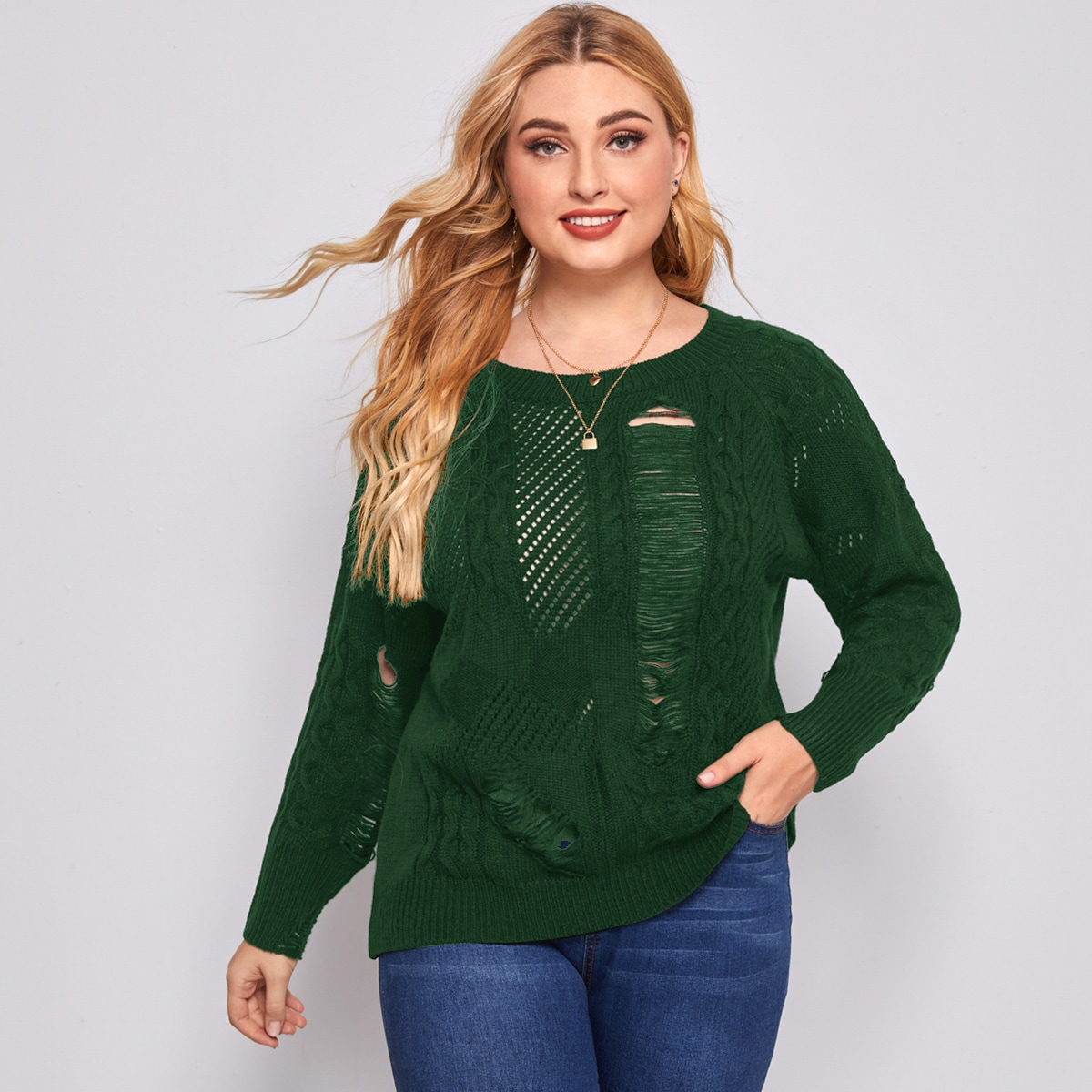 Однотонный рваный трикотажный свитер размера плюс