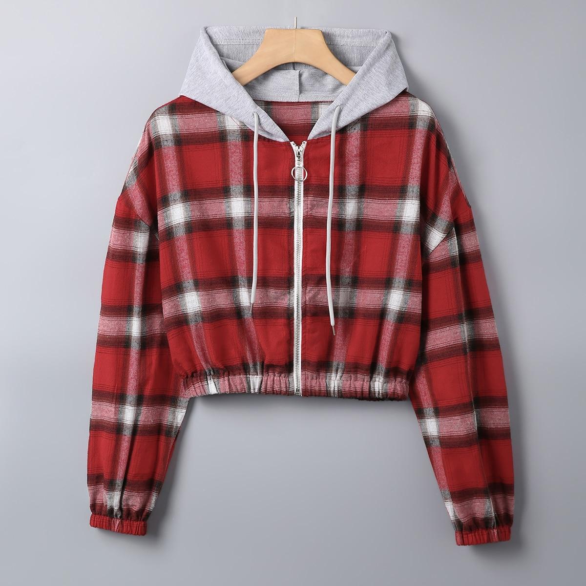 Plus Plaid Zip Up Drawstring Hooded Jacket
