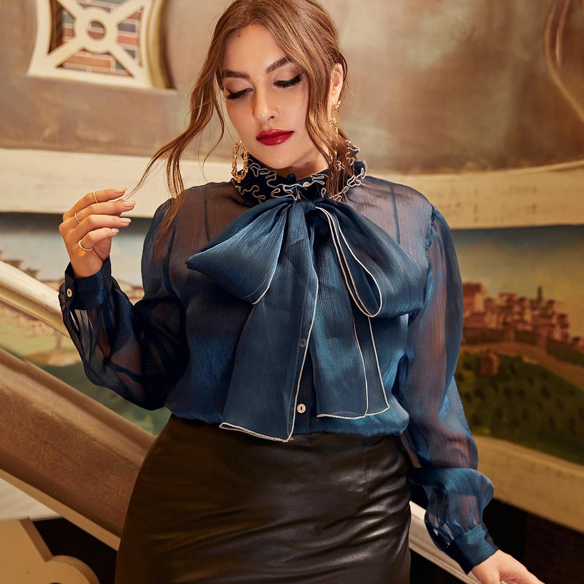 Прозрачный Одноцветный Повседневный Блузы размер плюс