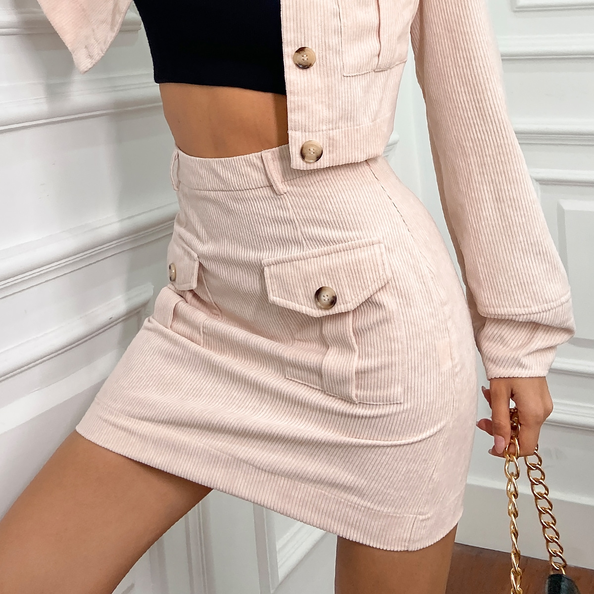 High Waist Flap Pocket Cord Skirt