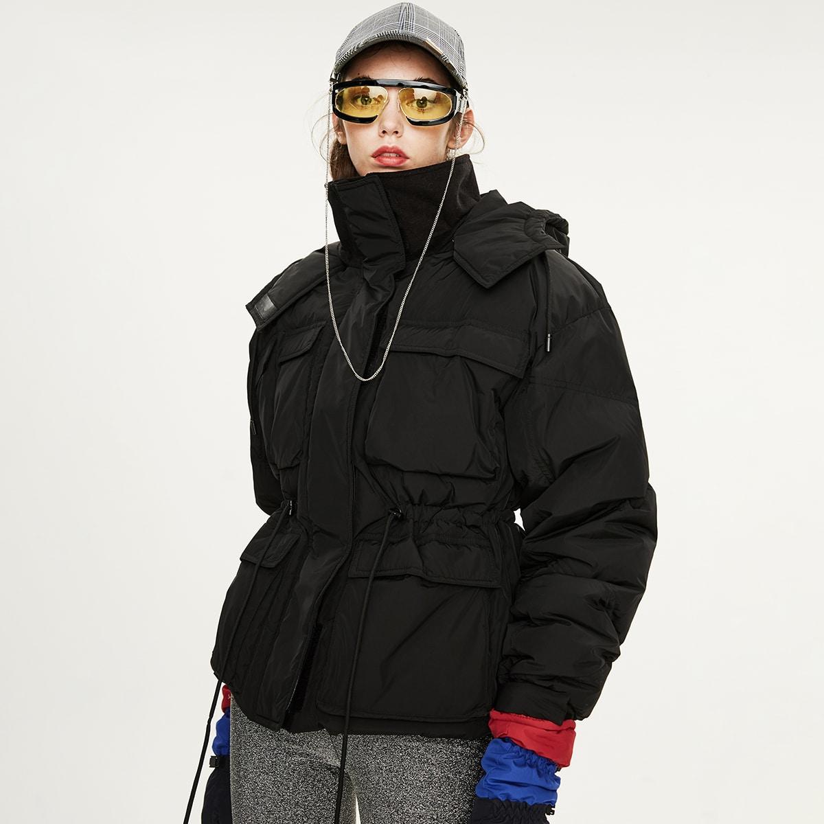Пуховое пальто на молнии с капюшоном