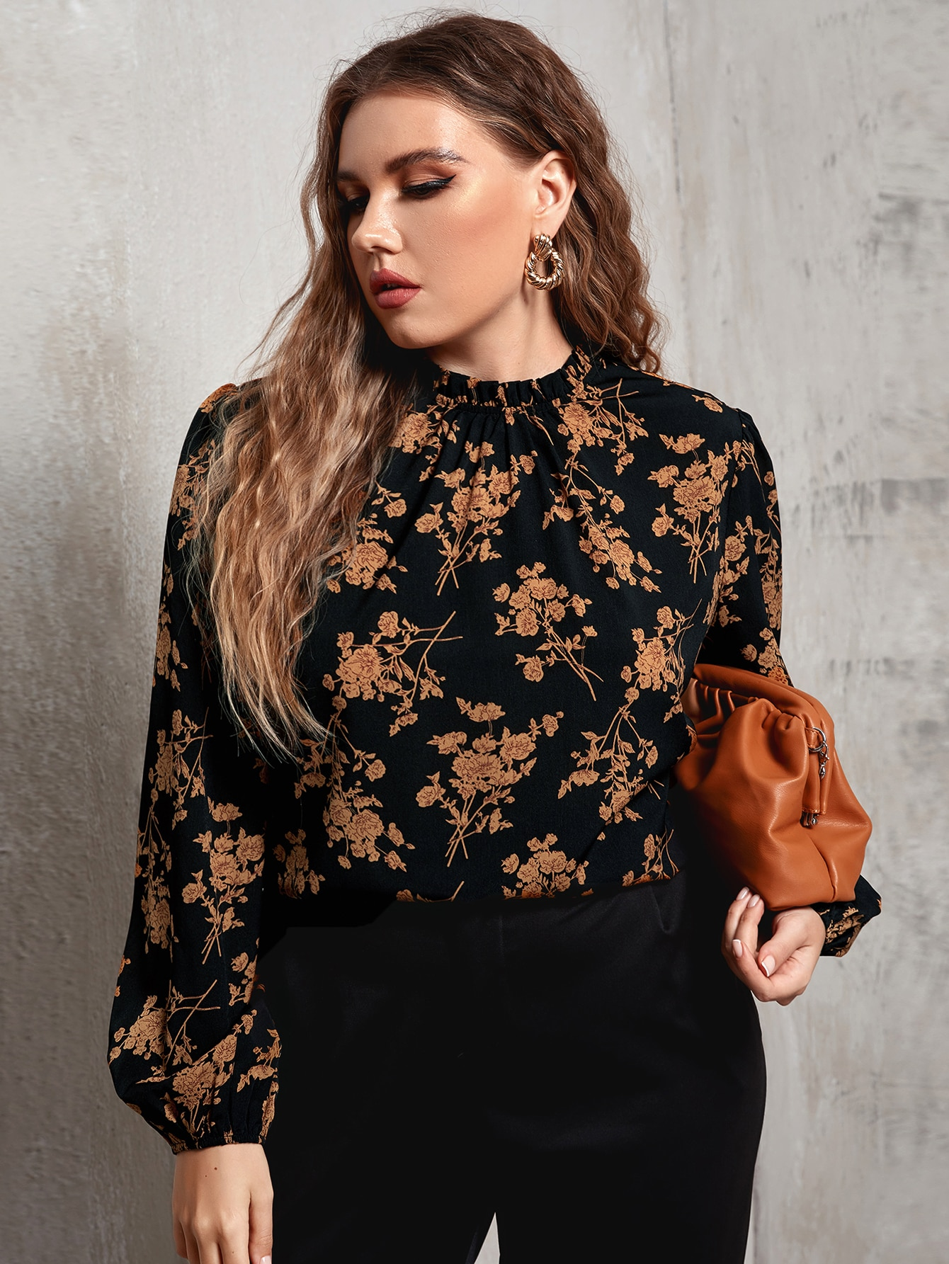 Plus Frilled Neck Lantern Sleeve Allover Floral Top thumbnail