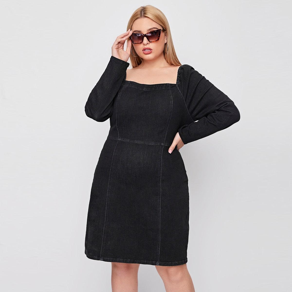 Джинсовое платье размера плюс с рукавом реглан и молнией сзади
