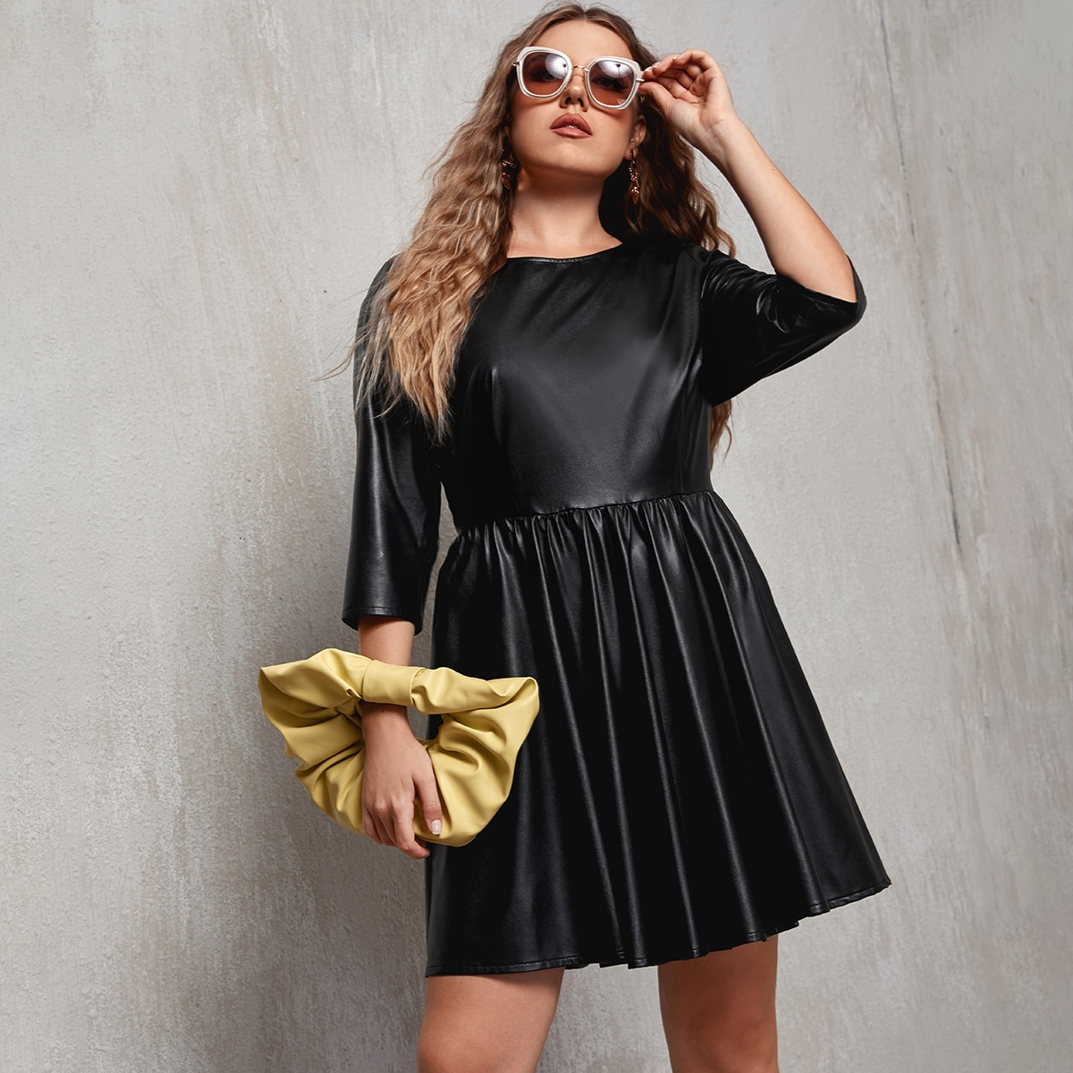 Plus PU Leather Fit And Flare Dress
