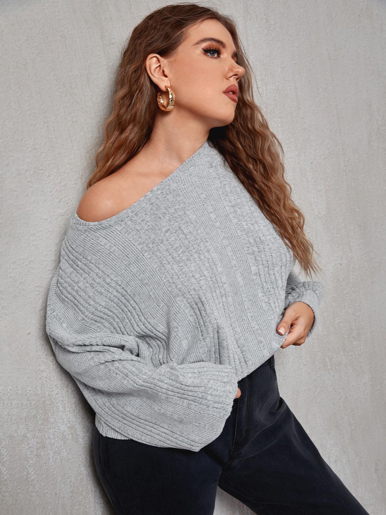 Plus Drop Shoulder Rib-knit Crop Tee thumbnail