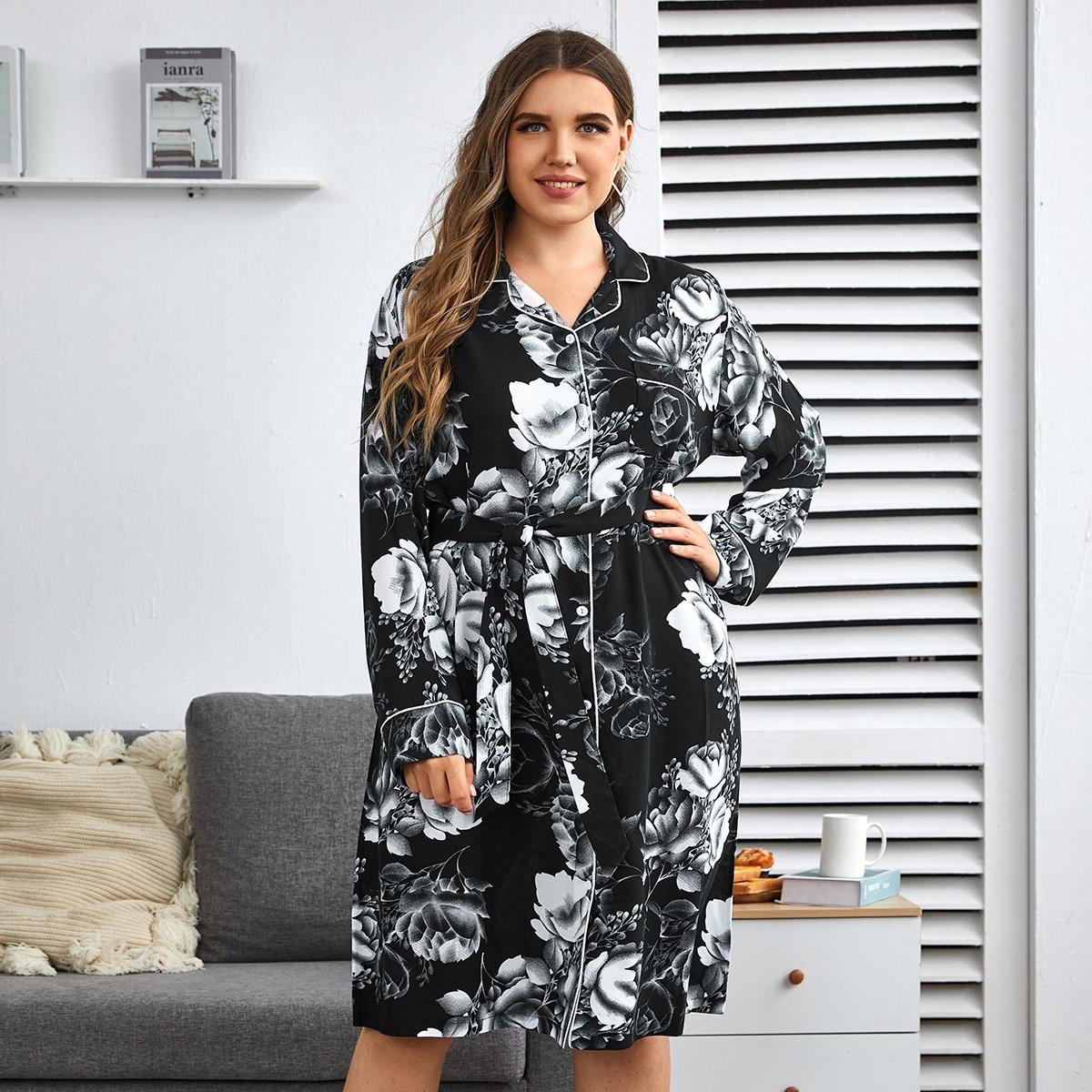 Ночная рубашка размера плюс с поясом и цветочным принтом