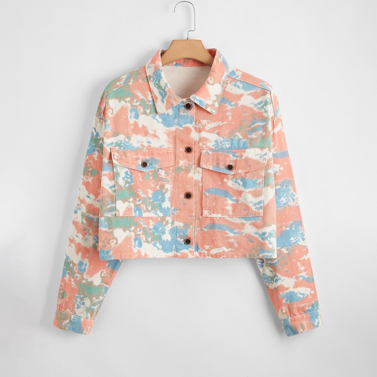 Джинсовая куртка размера плюс с принтом тай дай и карманом