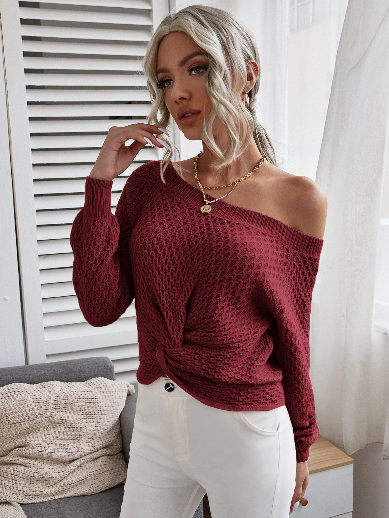 Solid Twist Front Boat Neck Sweater thumbnail
