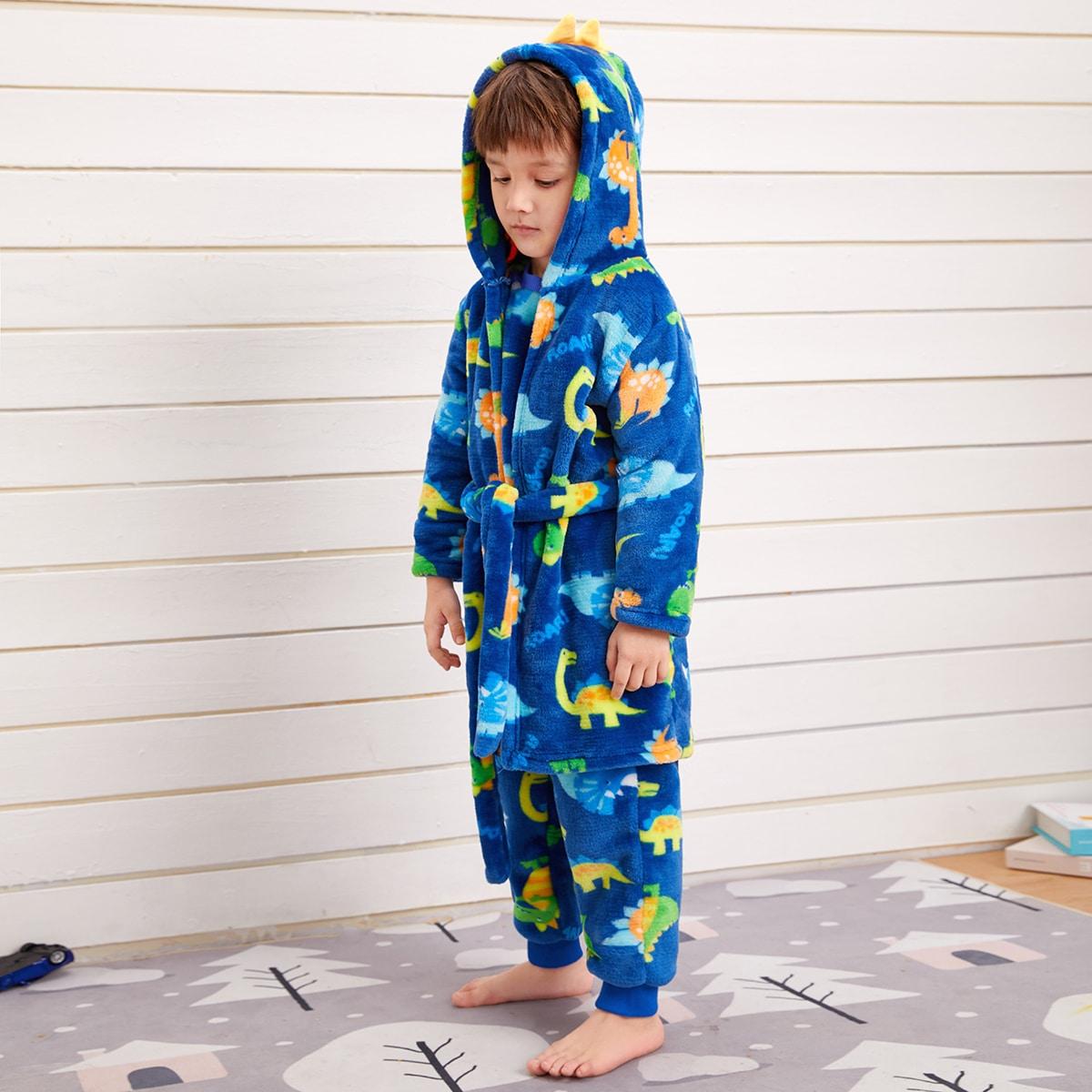 Фланелевый халат с капюшоном, поясом и мультипликационным принтом для мальчиков