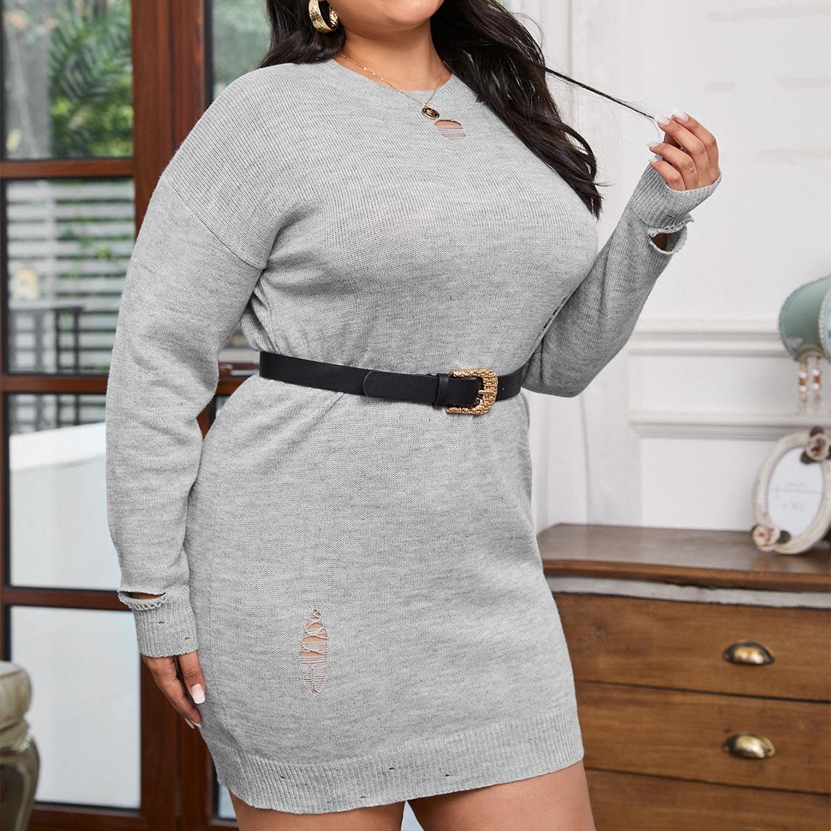 Рваное платье-свитер размера плюс без пояса