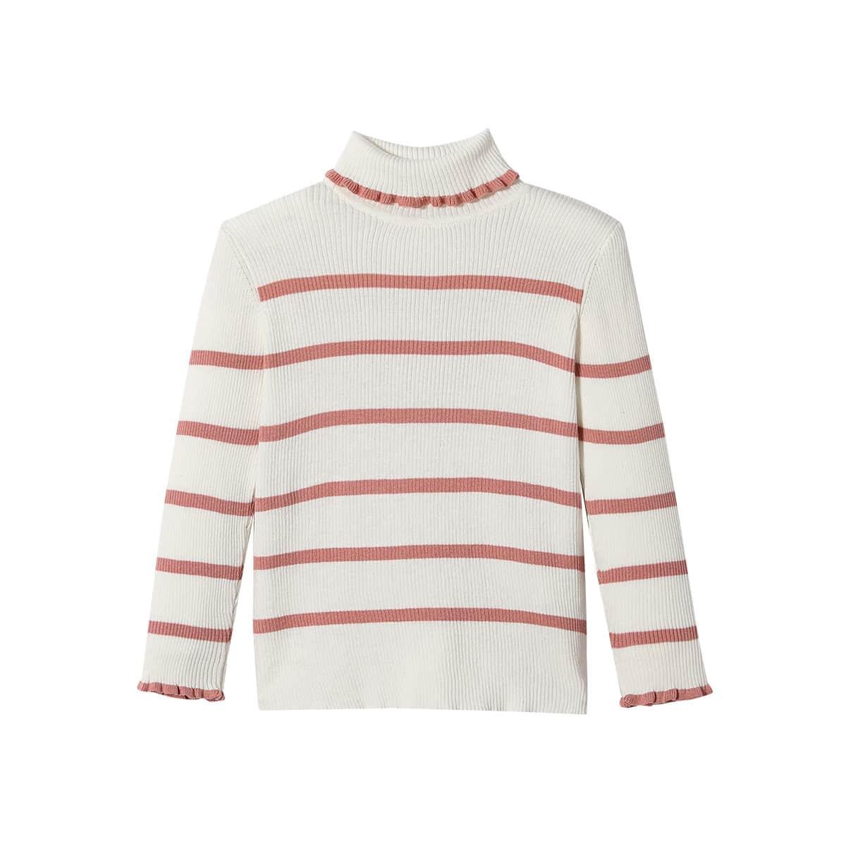 Декоративный край полосатый повседневный свитера для девочек