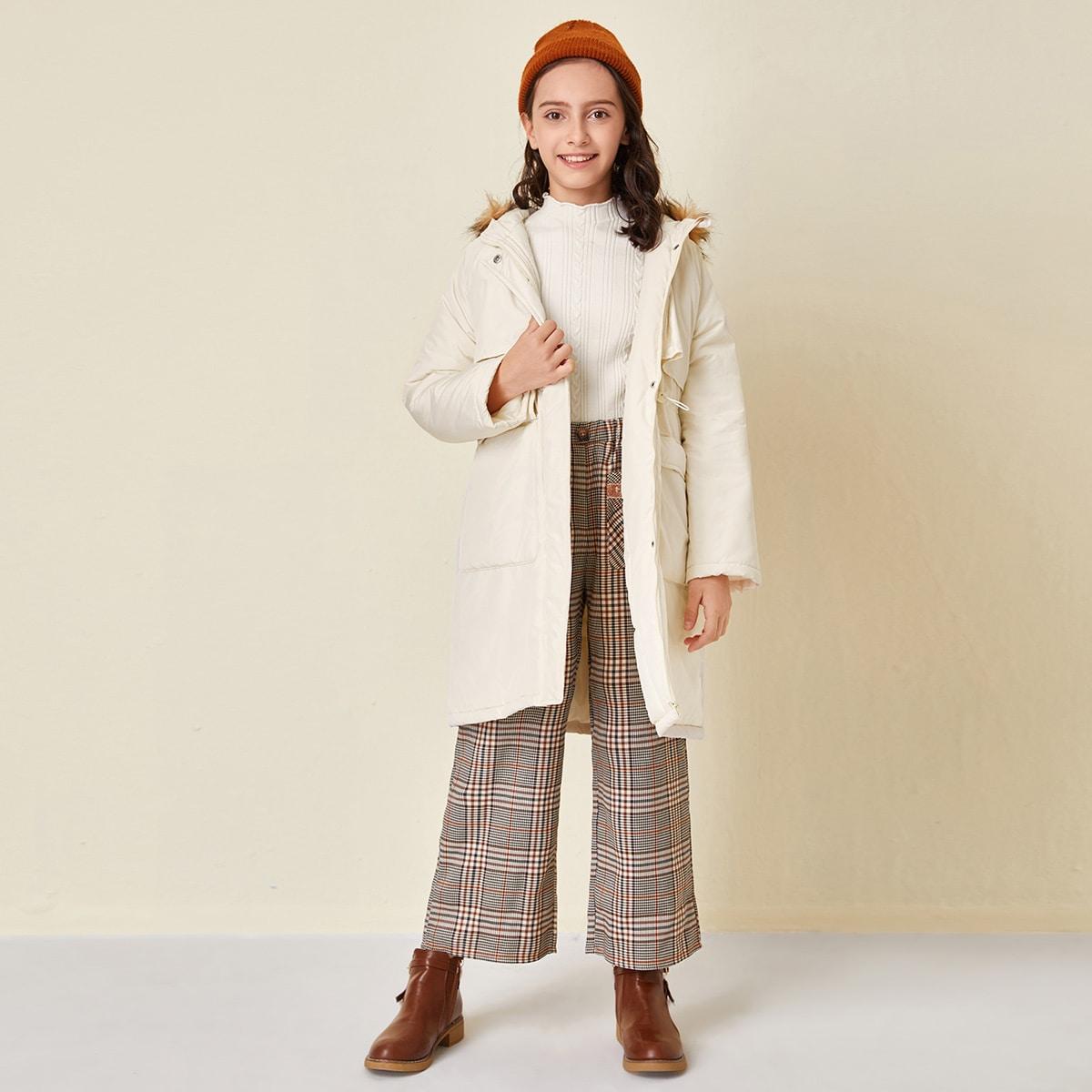 Kunstpelz Mantel mit Kordelzug auf Taille, Taschen Klappen vorn und Kapuze