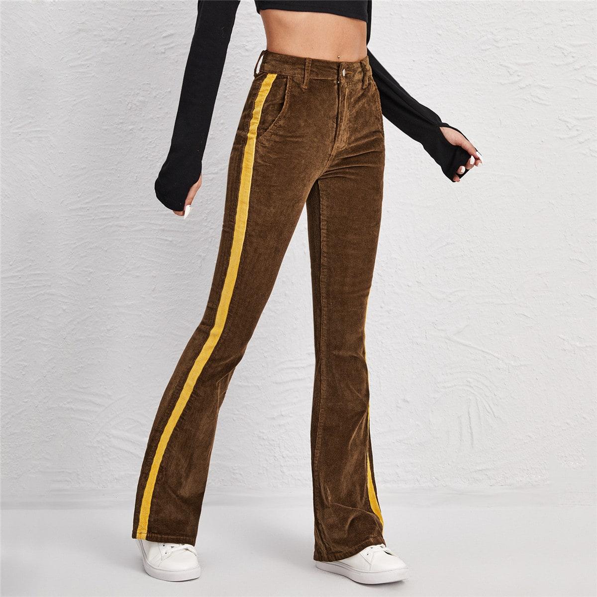 Вельветовые расклешенные брюки с высокой талией