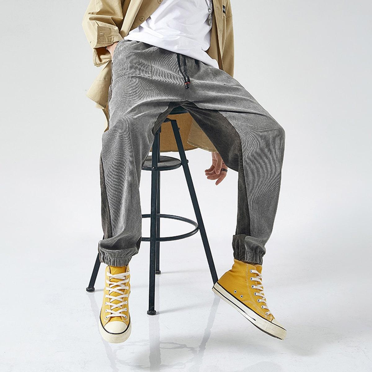 Мужские двухцветные вельветовые брюки