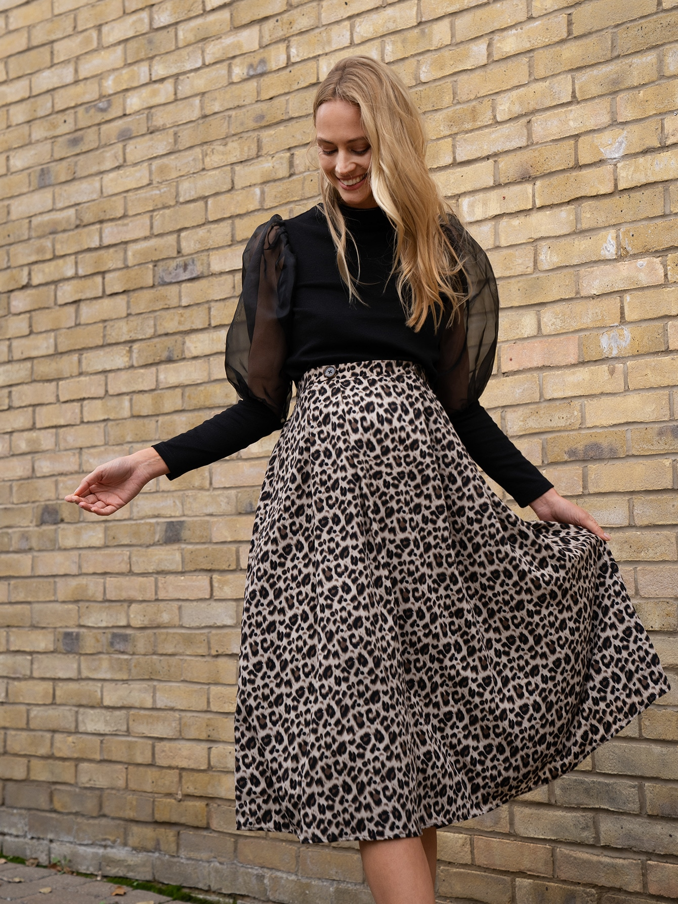 Maternity Buttoned Waist Leopard Skirt thumbnail