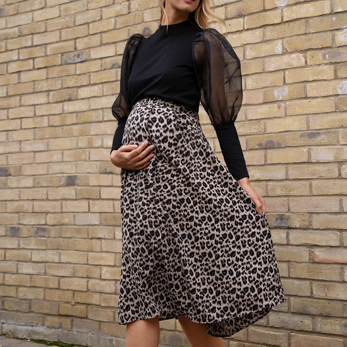 Umstandsmode Rock mit Knöpfen auf Taille und Leopard Muster