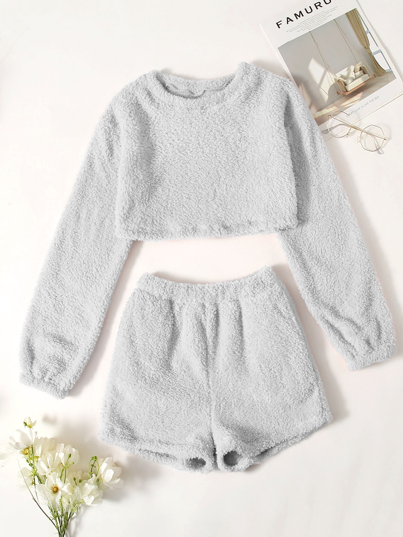 Teddy Solid Crop Top & Shorts Lounge Set thumbnail