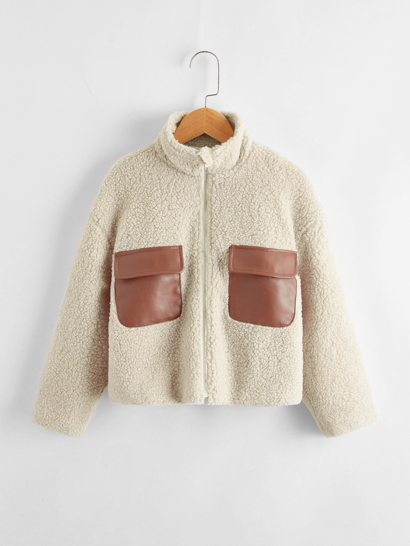girls zip up flap pocket front teddy jacket