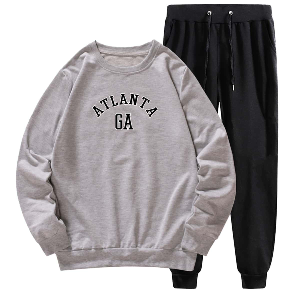 Мужской свитшот с текстовым принтом и спортивные брюки на кулиске
