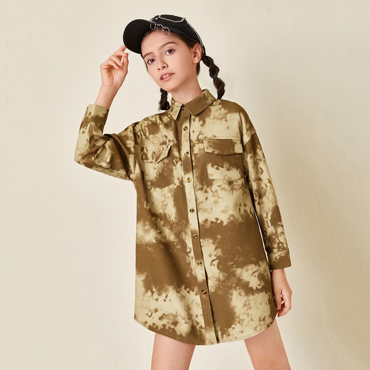 Shirtkleid mit Taschen Klappen und Batik ohne Gürtel