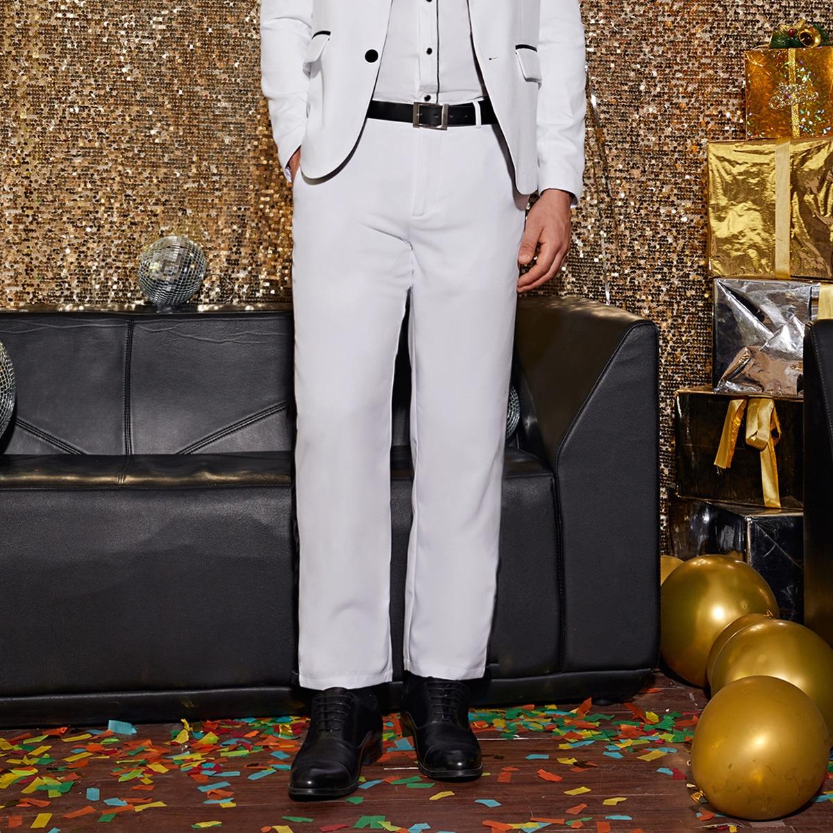 Мужские контрастные брюки без пояса