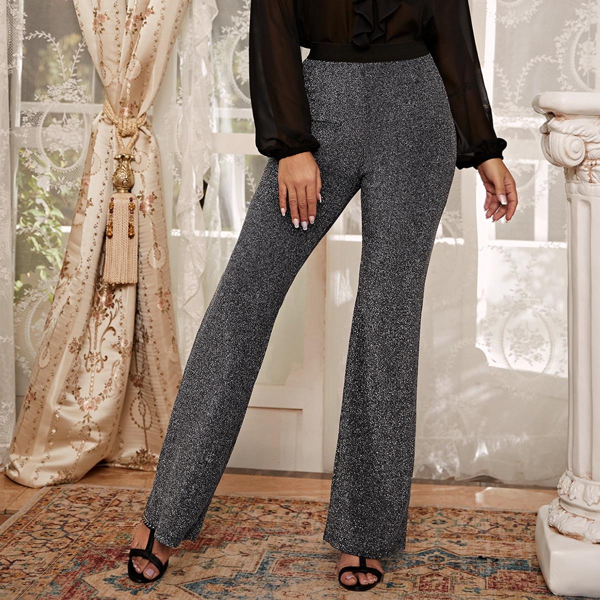 Блестящие брюки-клещ с высокой талией