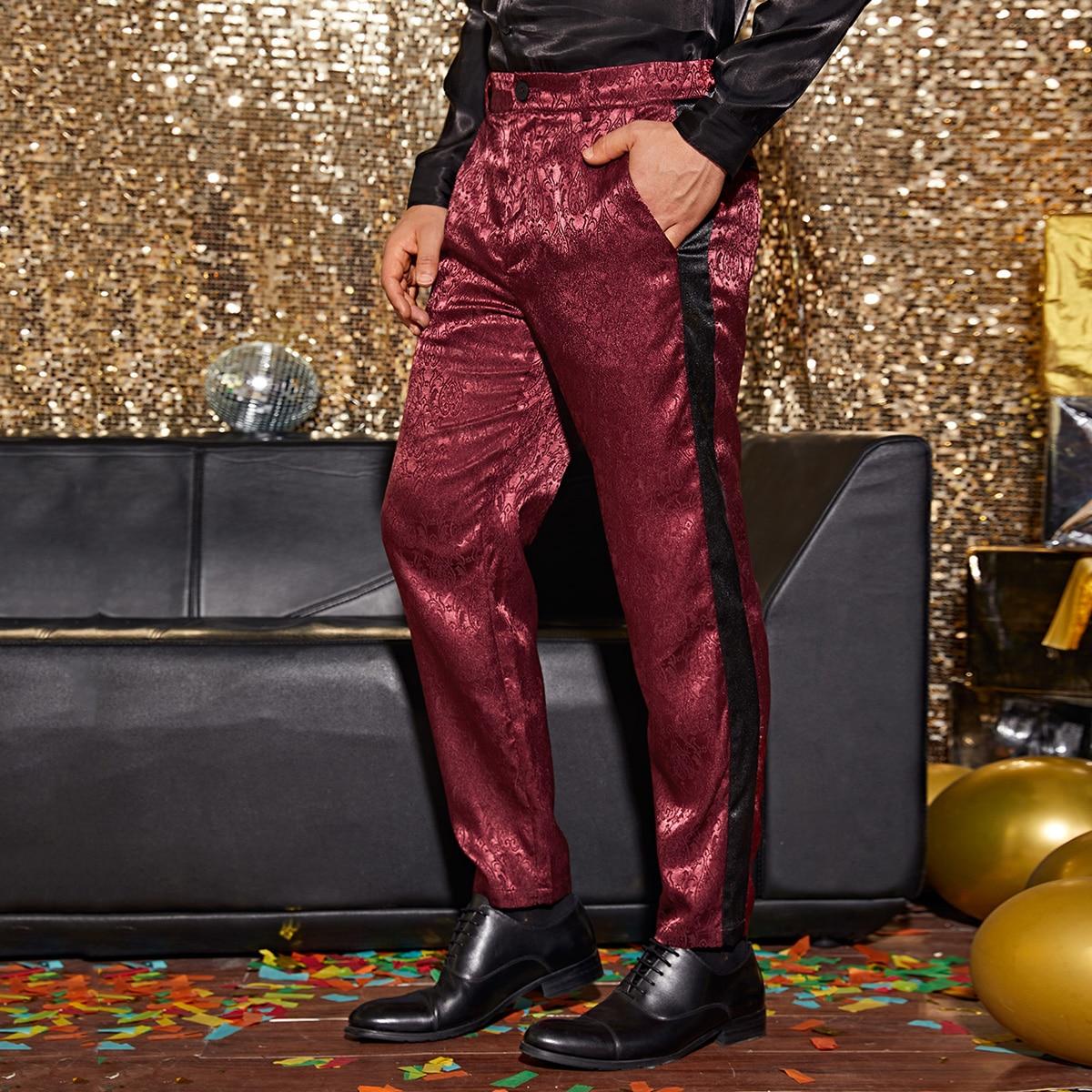Мужские контрастные жаккардовые брюки