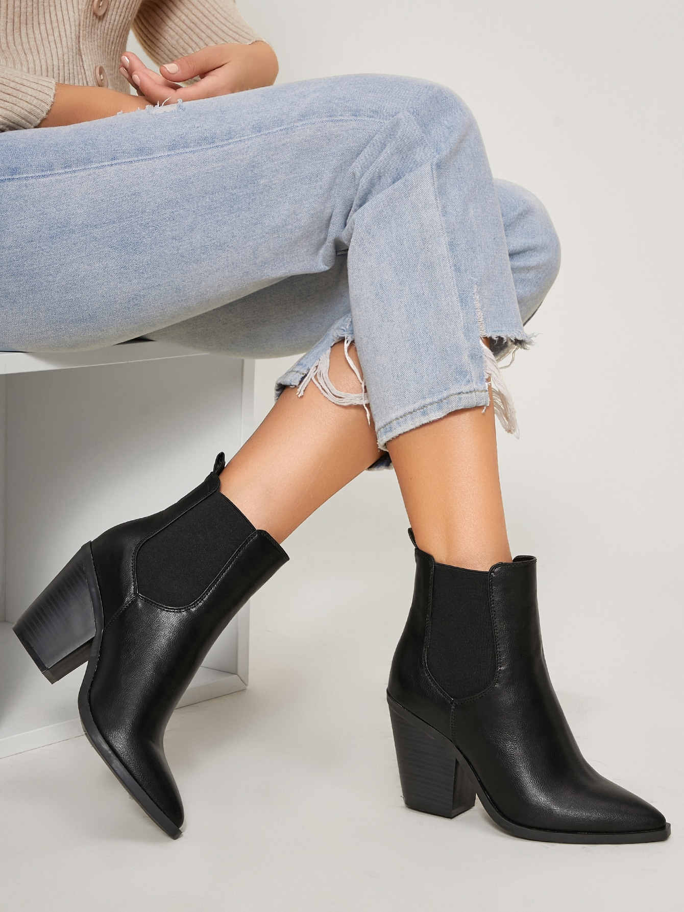 Vegan Leather Block Heel Chelsea Boots