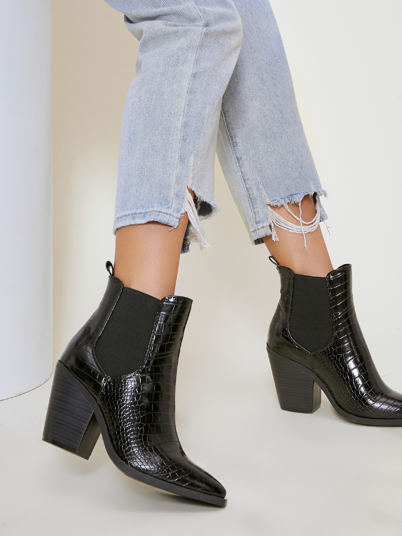 Faux Croc Leather Chelsea Boots