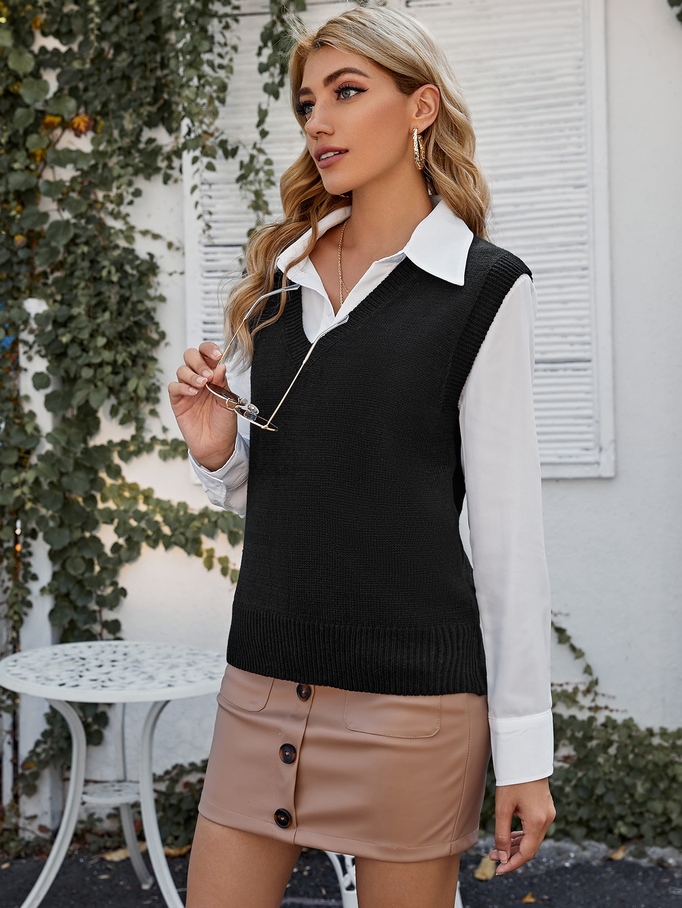 V Neck Solid Sweater Vest Without Blouse thumbnail