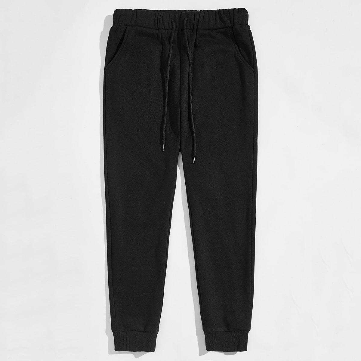 Мужские спортивные брюки на кулиске с флисовой подкладкой