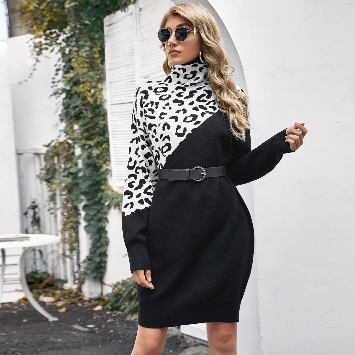 High Neck Drop Shoulder Leopard Colorblock Sweater Dress Without Belt