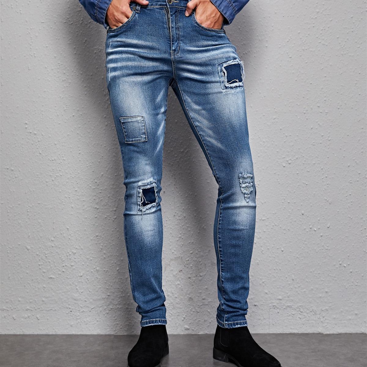Аппликация повседневный мужские джинсы