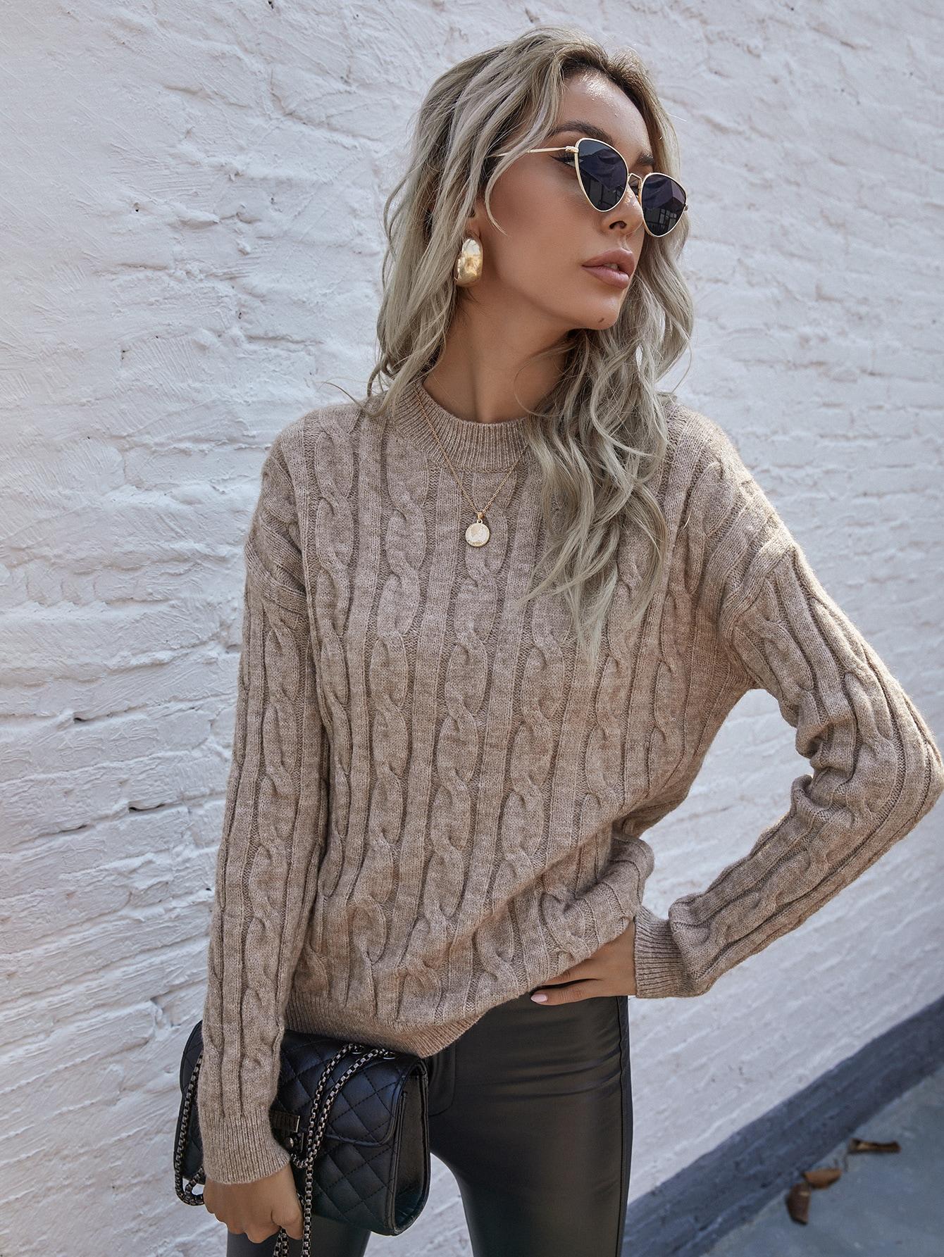 Cable Knit Drop Shoulder Sweater thumbnail