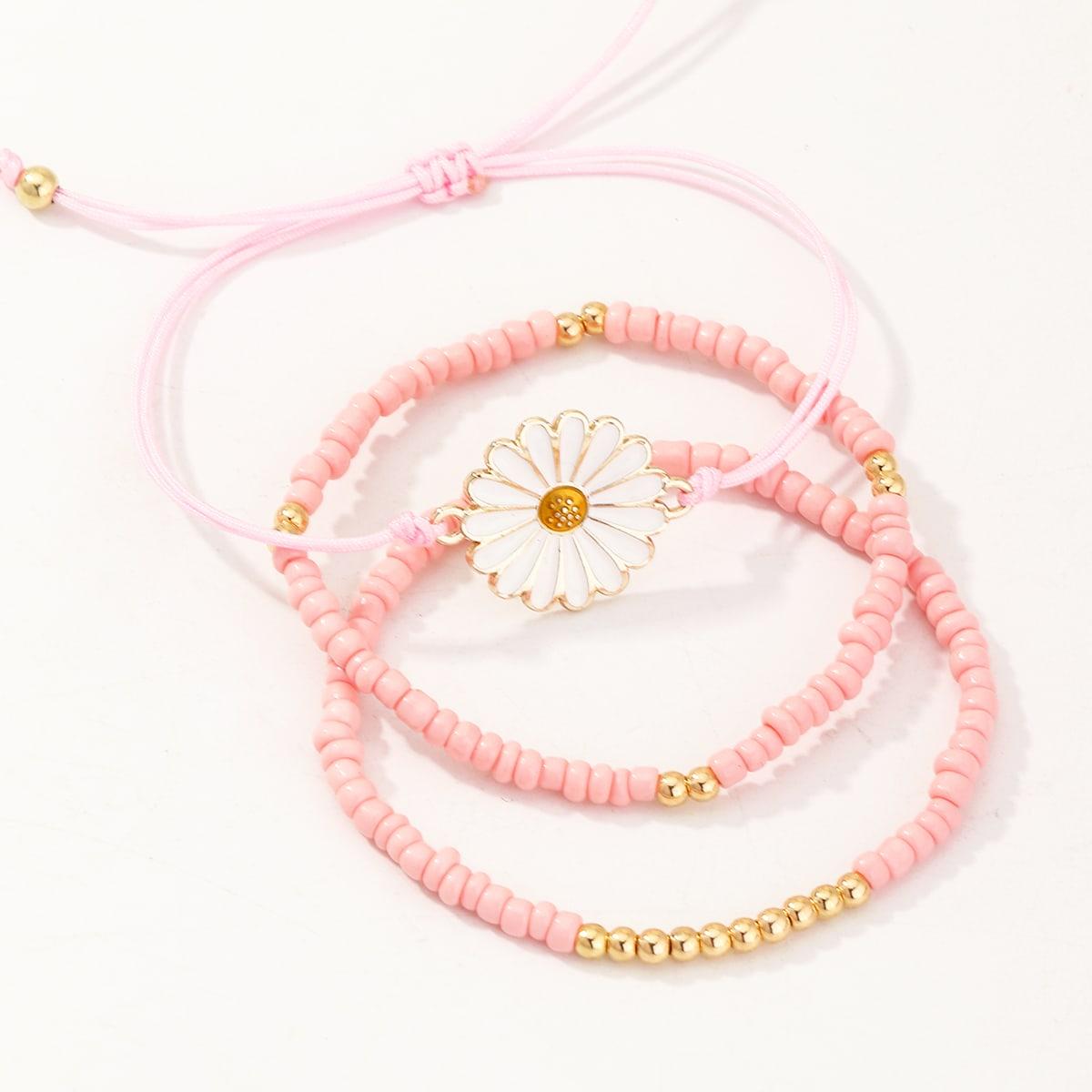 3 pièces Fille Bracelet perlé à fleur