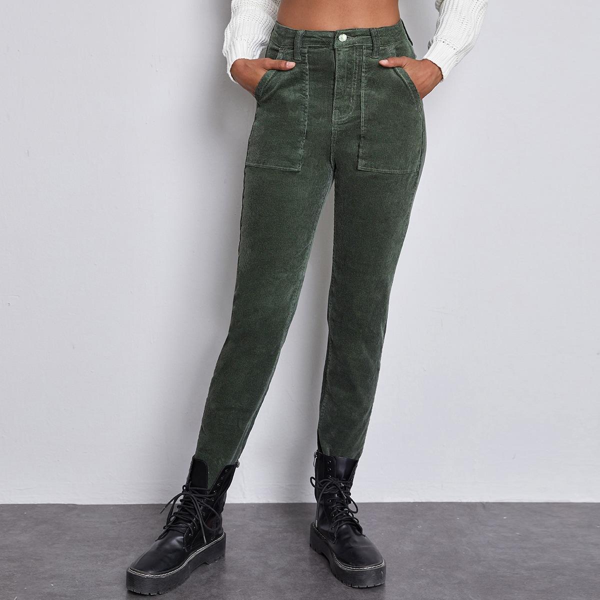 Вельветовые брюки с высокой талией и карманом