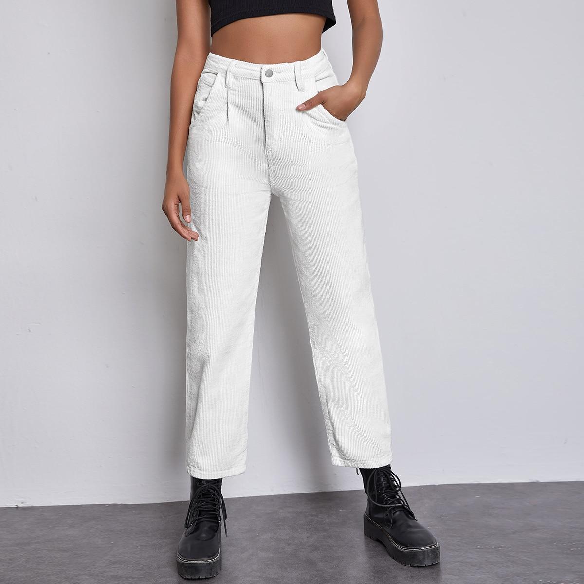 Вельветовые короткие брюки с высокой талией