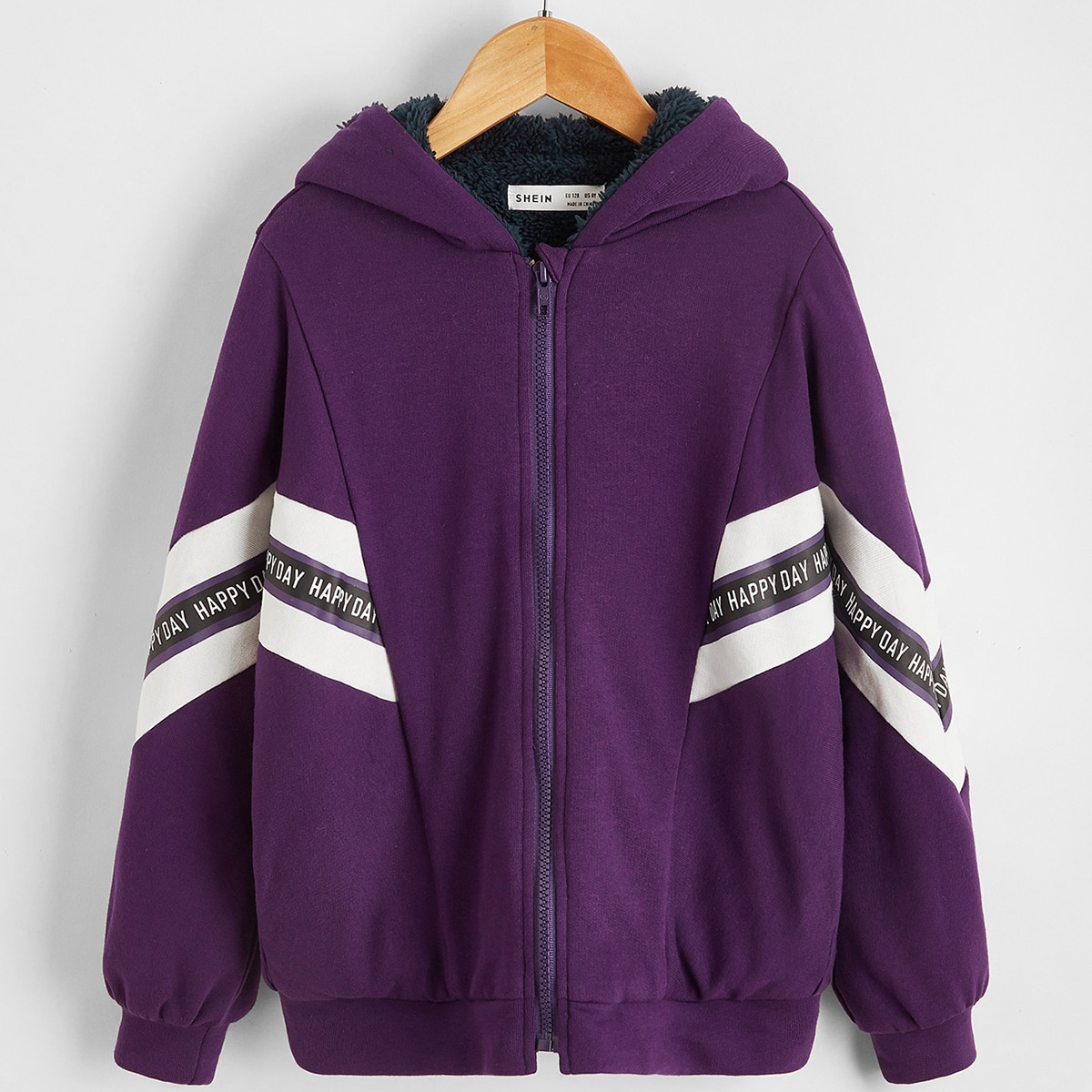Girls Letter Graphic Chevron Teddy Lined Jacket
