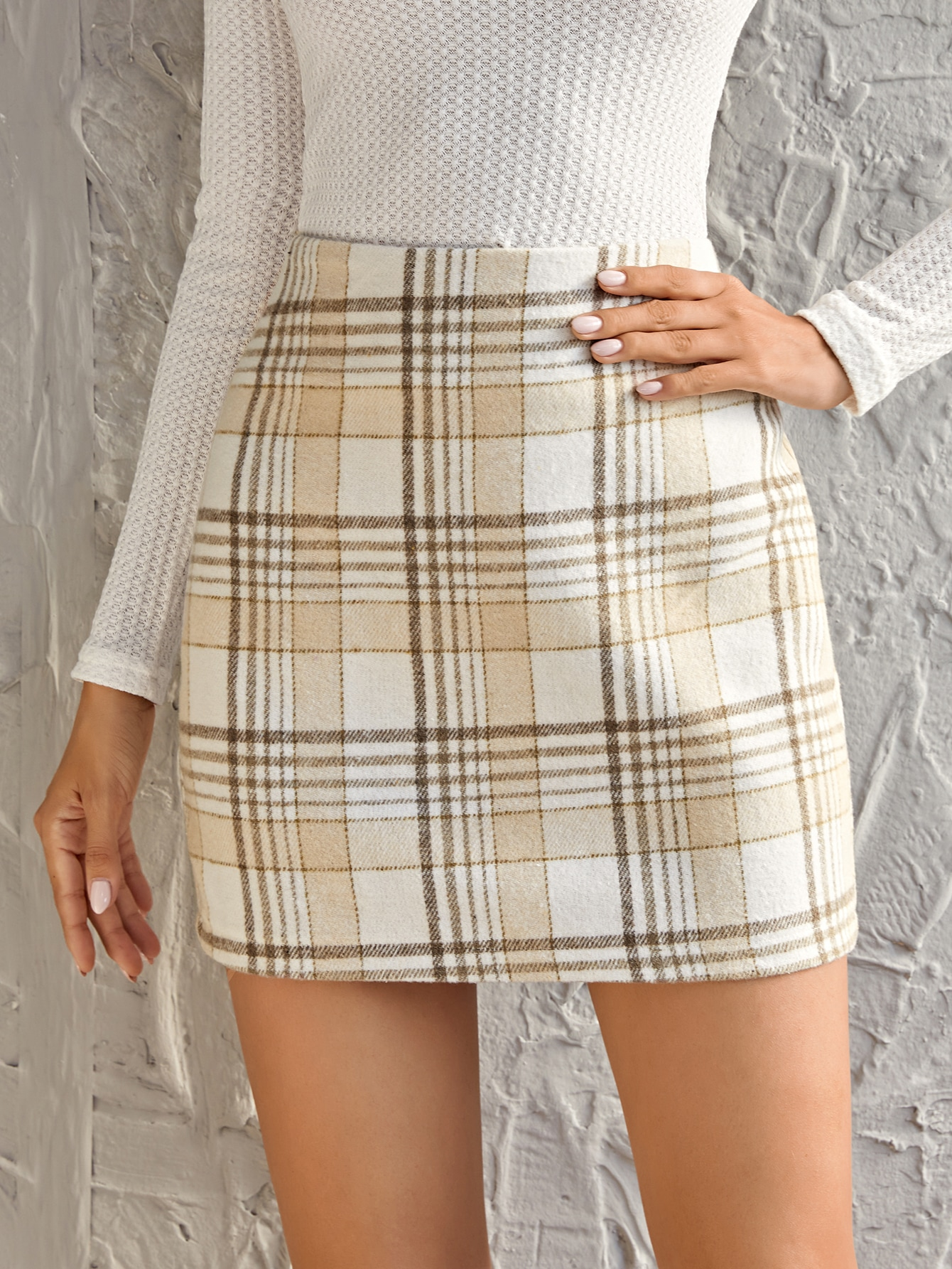 High Waist Plaid Wool-Mix Skirt thumbnail