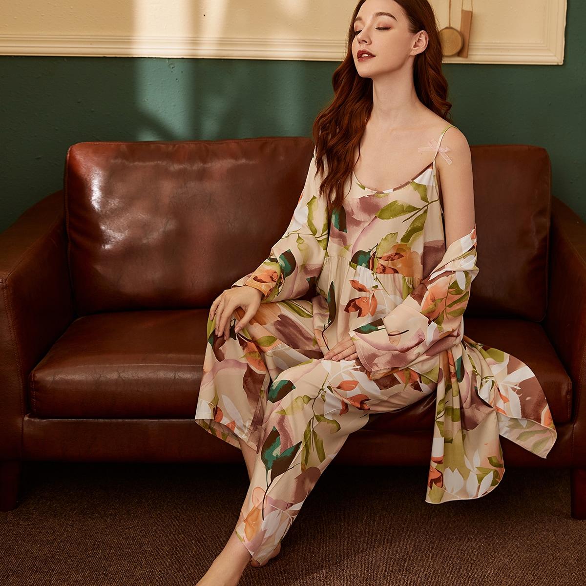 с оборками Растения Элегантный Пижама