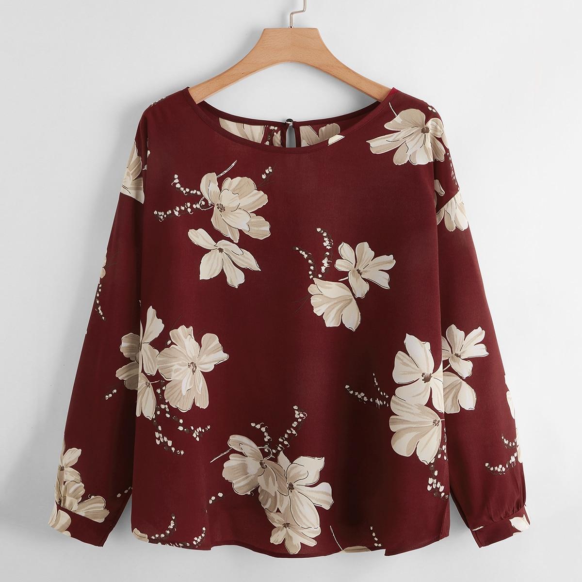 Пуговица Цветочный Повседневный Блузы размер плюс