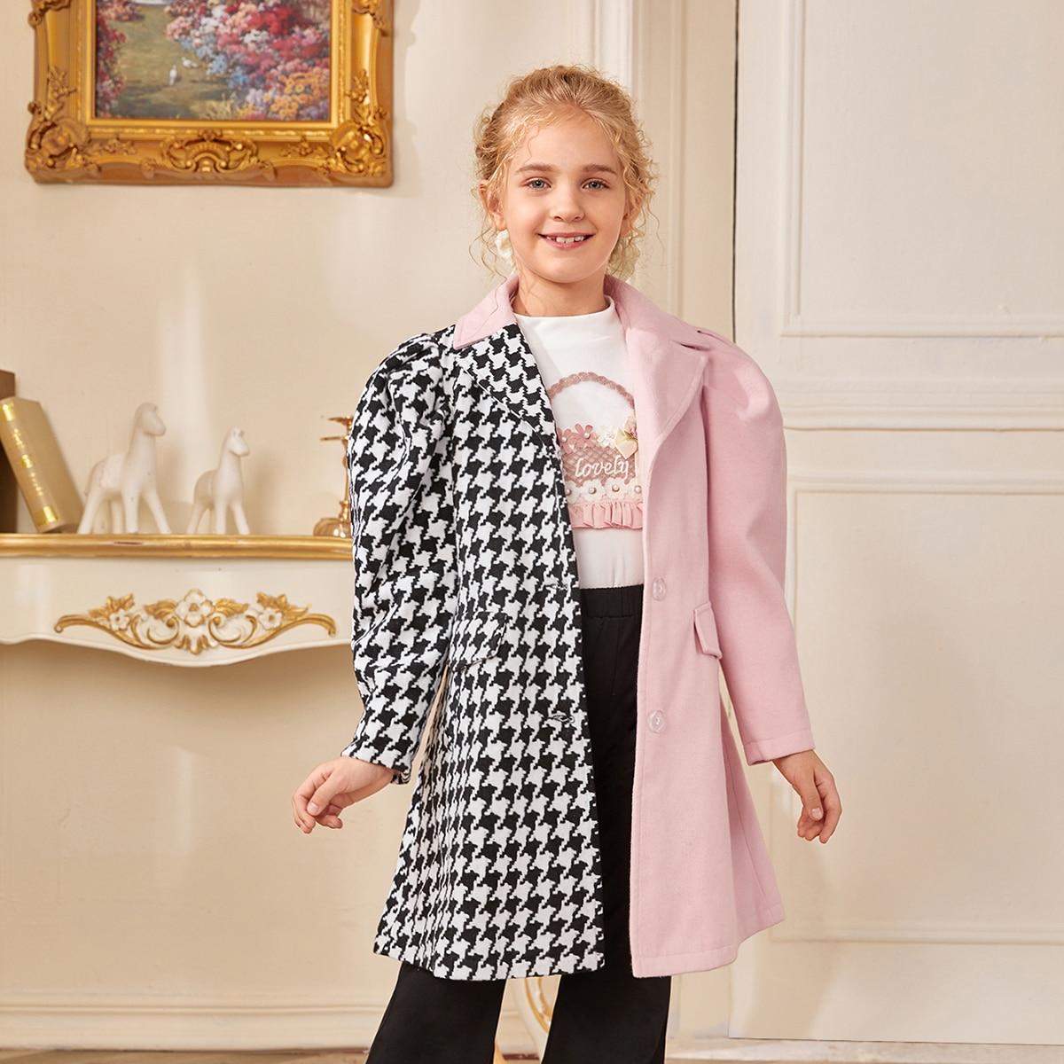 Mantel mit Gigotärmeln, Hahnentritt Muster und Farbblock